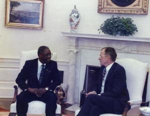 Erskine Sandiford with President George H.W. Bush